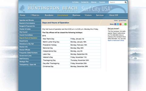 Screenshot of Hours Page huntingtonbeachca.gov - City of Huntington Beach, CA - Days and Hours of Operation - captured Jan. 15, 2016