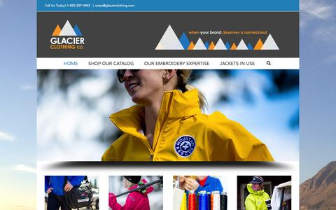 Screenshot of Home Page glacierclothing.com - HOME - GLACIER CLOTHING CO - captured Jan. 29, 2016