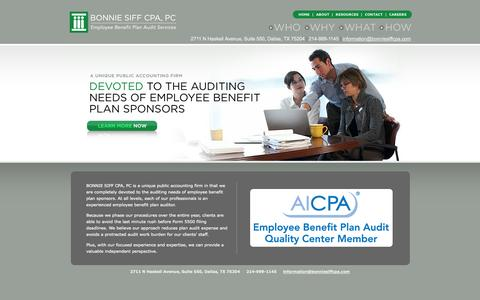 Screenshot of Home Page bonniesiffcpa.com - Bonnie Siff CPA, PC: Employee Benefit Plan Audit Services - captured Oct. 4, 2014
