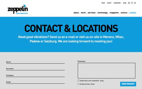 Screenshot of Contact Page Locations Page zeppelin-group.com - Contact & Locations - Zeppelin Group GmbH - Merano - South Tyrol - captured Nov. 5, 2017