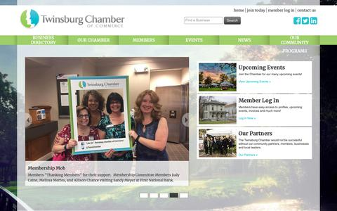 Screenshot of Home Page twinsburgchamber.com - Home - Twinsburg Chamber of Commerce, OH - captured Oct. 20, 2018