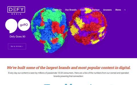Screenshot of Home Page defymedia.com - DEFY Media - captured Oct. 22, 2015