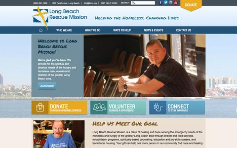 Screenshot of Home Page lbrm.org - Long Beach Rescue Mission | Helping the Homeless. Changing Lives. - captured Oct. 3, 2014