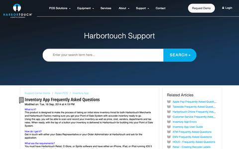 Screenshot of FAQ Page harbortouch.com - Inventory App Frequently Asked Questions : Harbortouch Support Center - captured Oct. 9, 2018