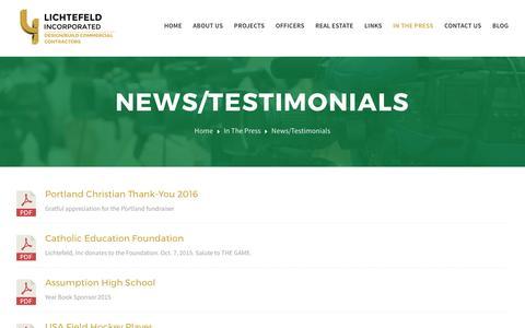 Screenshot of Testimonials Page lichtefeldinc.com - News/Testimonials – Lichtefeld Incorporated - captured May 18, 2017