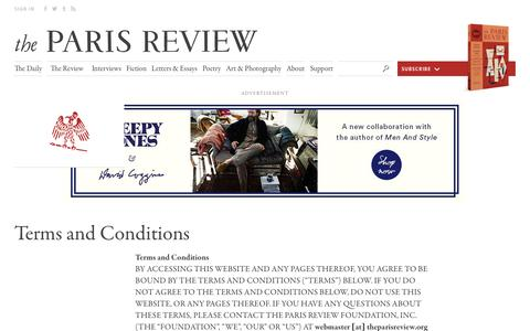 Screenshot of Terms Page theparisreview.org - Paris Review - Writers, Quotes, Biography, Interviews, Artists - captured Dec. 5, 2016