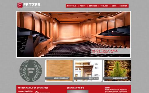 Screenshot of Home Page fetzerwood.com - Home - Fetzer Architectural WoodworkFetzer Architectural Woodwork - captured Oct. 5, 2014