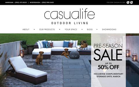 Screenshot of Home Page casualife.ca - Casualife Outdoor Living (Patio Furniture) - captured Jan. 26, 2016