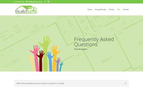 Screenshot of FAQ Page buildrate.com.au - FAQ | Buildrate Energy Ratings - captured Oct. 11, 2017