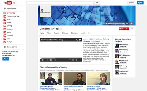 Screenshot of YouTube Page youtube.com - Global Knowledge  - YouTube - captured Oct. 23, 2014