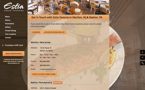 Screenshot of Contact Page estiataverna.com - Estia Greek Taverna | Contact Information, Hours of Operation, Email | Marlton NJ | Radnor PA - captured Oct. 2, 2014