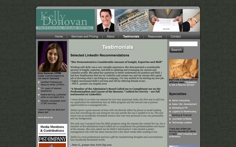 Screenshot of Testimonials Page kellydonovan.com - Testimonials - Executive Resume Writing Services | Los Angeles Executive Resume Writer - captured Oct. 6, 2014