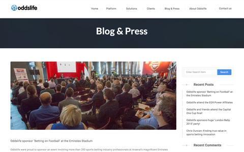 Screenshot of Blog oddslife.com - Blog & Press � Oddslife - captured Jan. 12, 2016