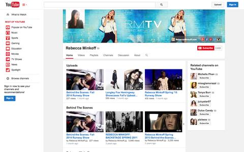 Screenshot of YouTube Page youtube.com - Rebecca Minkoff  - YouTube - captured Oct. 30, 2014