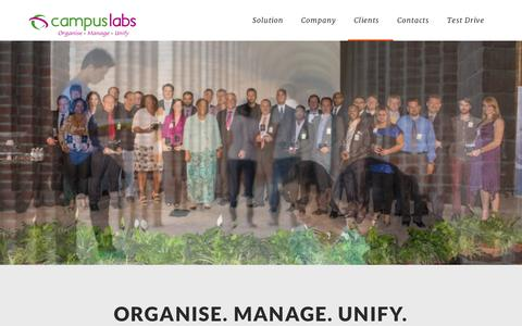 Screenshot of Home Page campuslabs.in - Campus Labs | Organise. Manage. Unify | Get the CampusLabs advantage to Organise, Manage & Unify your campus. - captured Jan. 14, 2016