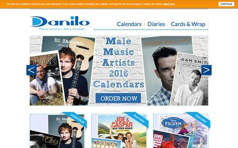 Screenshot of Home Page danilo.com - Official 2016 Calendars & Greeting Cards from Danilo - captured Feb. 8, 2016