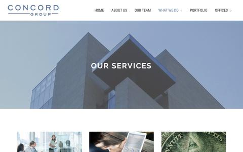 Screenshot of Services Page concord-cc.com - Our Core Consulting Services | The Concord Group - captured Oct. 19, 2018
