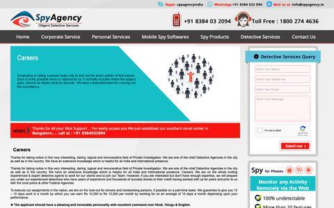 Screenshot of Jobs Page spyagency.in - Careers :: Spy Agency India - captured Oct. 20, 2018