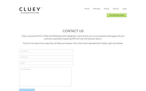 Screenshot of Contact Page cluey.com - Find out more how Cluey Point of Sale can help your business | Cluey - Smart Point of Sale Solutions - captured July 19, 2014