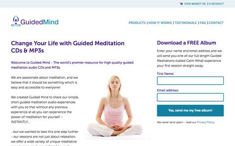 Screenshot of Home Page guidedmind.com - Guided Meditation from Guided Mind - captured Sept. 25, 2014