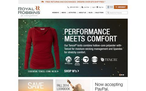 Screenshot of Home Page royalrobbins.com - Royal Robbins -  Outdoor + Travel Clothing – Free Shipping - captured Sept. 25, 2014