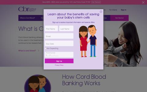Screenshot of Home Page cordblood.com - Cord Blood Banking | Largest, Most Experienced Newborn Stem Cell Bank | CBR® - captured Jan. 22, 2016