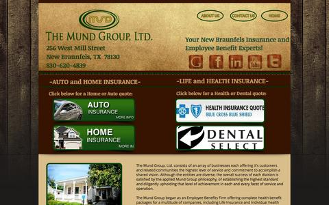 Screenshot of Home Page themundgroup.com - New Braunfels-Auto,Home, Life, Health Insurance Marketplace - captured Oct. 4, 2014