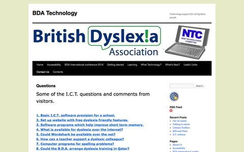 Screenshot of FAQ Page bdatech.org - Questions   BDA Technology - captured Jan. 14, 2017