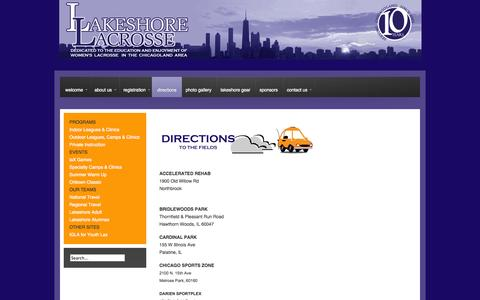 Screenshot of Maps & Directions Page lakeshorelacrosse.com - Directions | Core - captured Sept. 29, 2014