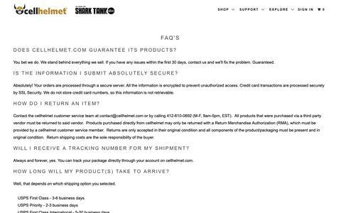 Screenshot of FAQ Page cellhelmet.com - cellhelmet FAQ's, cellhelmet Questions, cellhelmet Terms and Conditions - captured Sept. 27, 2018