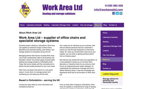 Screenshot of About Page workarealtd.com - About Work Area Ltd | Office & industrial chairs | Lockers & storage - captured Nov. 7, 2018