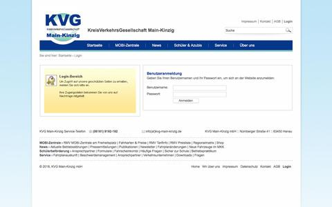 Screenshot of Login Page kvg-main-kinzig.de - Login - captured June 8, 2018