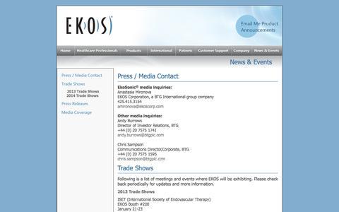 Screenshot of Press Page ekoscorp.com - News - captured Jan. 23, 2016