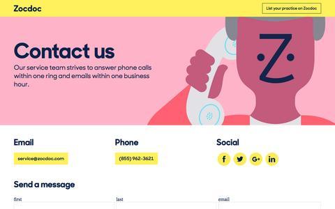 Screenshot of Contact Page zocdoc.com - Contact | ZocDoc - captured Feb. 18, 2016