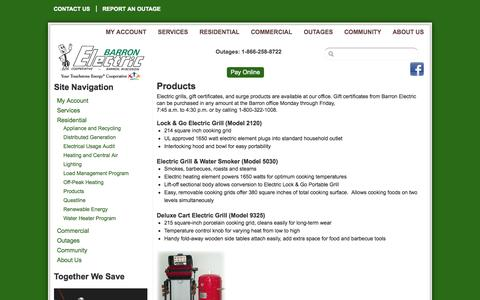 Screenshot of Products Page barronelectric.com - Products | Barron Electric Cooperative - captured Oct. 5, 2014