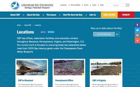 Screenshot of Locations Page cbf.org - Chesapeake Bay Foundation - captured July 28, 2017