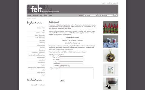 Screenshot of Contact Page felt.co.nz - Contact | Felt - captured Sept. 25, 2014