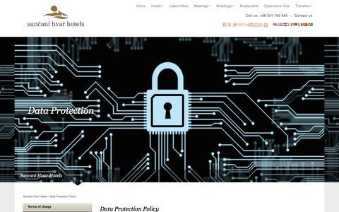 Screenshot of Privacy Page suncanihvar.com - Data Protection Policy   Suncani Hvar Hotels - captured Sept. 24, 2018