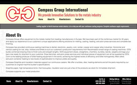 Screenshot of About Page compassgi.com - Continuous Casting Machine – Compass Group International - captured Sept. 29, 2018