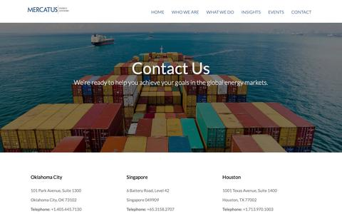 Screenshot of Contact Page mercatusenergy.com - Contact | Energy Hedging, Marketing, Risk Management, Supply & Trading | Houston, Oklahoma City & Singapore - captured Nov. 15, 2018