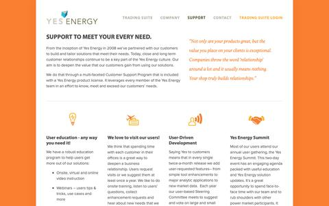 Screenshot of Support Page yesenergy.com - Support — Yes Energy - captured Nov. 7, 2018
