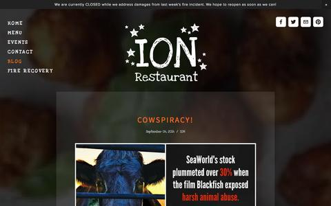 Screenshot of Blog ionrestaurant.com - Blog — It's Only Natural Restaurant - captured Oct. 6, 2014