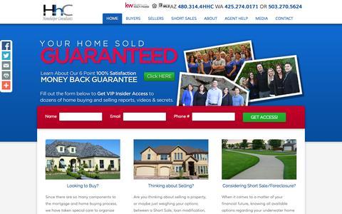 Screenshot of Home Page homehelperconsultants.com - Arizona, Washington, and Oregon Real Estate Professionals :: HHC Real Estate - captured Sept. 30, 2014