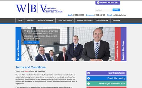 Screenshot of Terms Page wbv.ltd.uk - Terms and Conditions   Chartered Accountants and Business Advisers in Swansea and Neath - WBV - captured Oct. 26, 2014