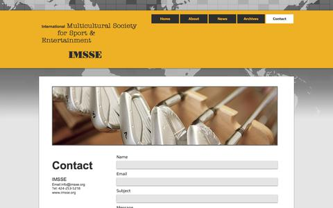 Screenshot of Contact Page imsse.org - International Multicultural Society for Sport & Entertainment (IMSSE)   Contact - captured Oct. 15, 2017