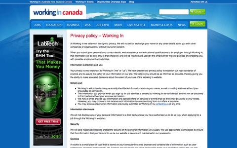 Screenshot of Privacy Page workingin-canada.com - Privacy policy - Working In | Working In Canada - captured Oct. 31, 2014
