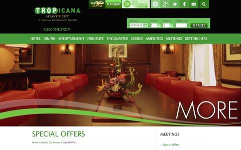 Screenshot of tropicana.net - Tropicana Casino & Resort | Meetings | Special Offers - captured March 20, 2016