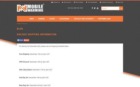 Screenshot of Blog mobilewarminggear.com - Blog - captured Jan. 10, 2016
