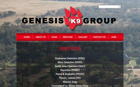 Screenshot of Services Page gk9group.com - Services - captured Oct. 27, 2014