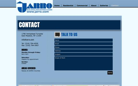 Screenshot of Contact Page jarro.com - Jarro Building Industries | Long Island General Contractors | Contact - captured Nov. 26, 2016